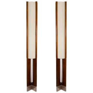 DANISH MODERN PAIR OF TALL WOODEN FLOOR LAMPS For Sale