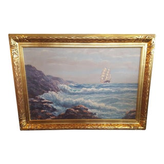 Helio Wernegreen Vintage Painting of Sailing For Sale