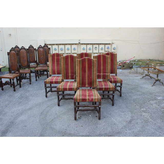 Monumental Set Of Louis XIII Style Solid Walnut Os De Mouton Dining Chairs - Set of 6 - Image 2 of 11