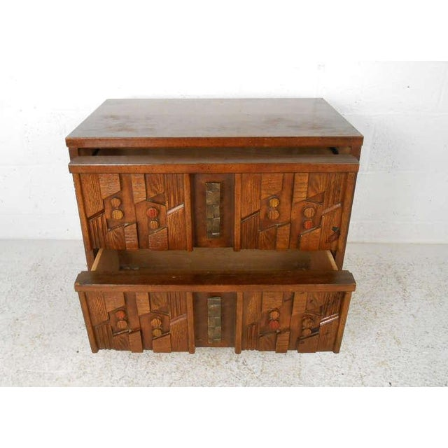 Paul Evans Stylish Mid-Century Sculpted Front Nightstand For Sale - Image 4 of 8