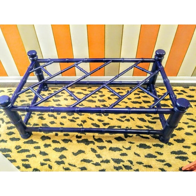 Palm Beach Regency Faux Bamboo Chippendale Painted Gloss Navy Blue Rectangular Coffee Table For Sale - Image 11 of 11