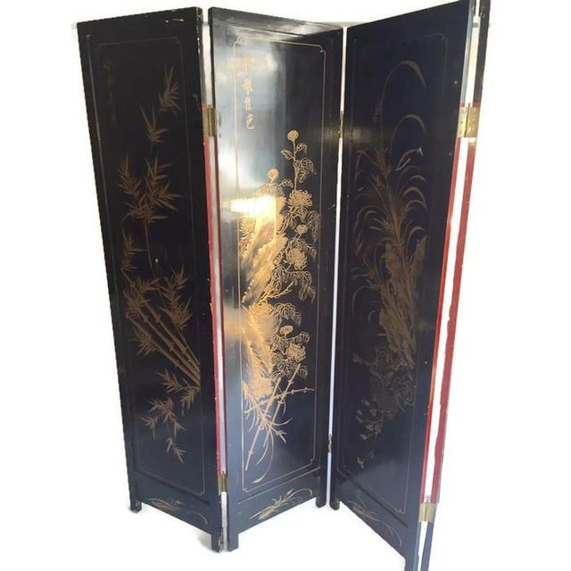 Vintage Chinoiserie Folding Screen - Image 4 of 10