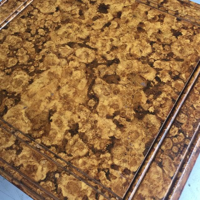 Tortoiseshell Burnt Bamboo Design Table For Sale - Image 4 of 5