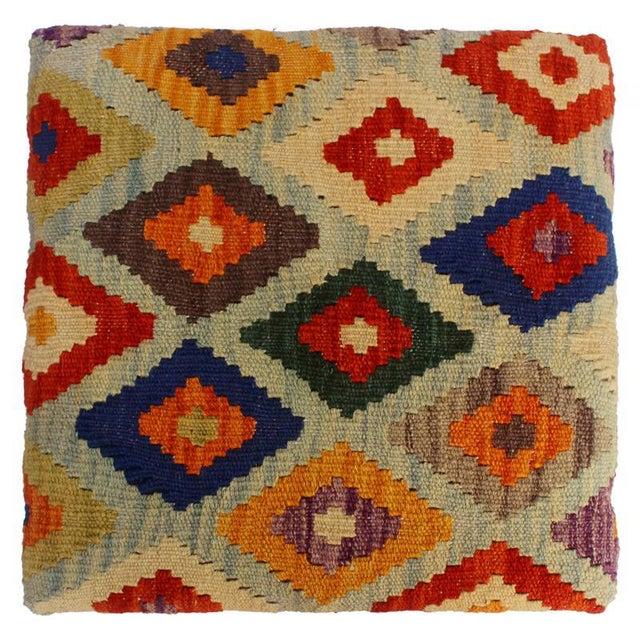 Textile Cristina Lt. Blue/Blue Kilim Upholstered Handmade Storage Ottoman For Sale - Image 7 of 8
