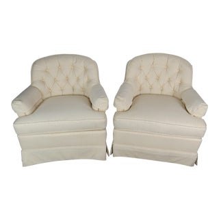 Vintage Off-White Drexel Heritage Chairs - a Pair For Sale