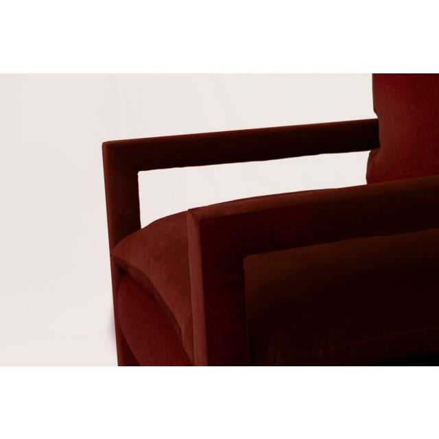 1970s Stunning Pair of Parsons Armchairs in Ruby Mohair Velvet For Sale - Image 5 of 7