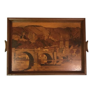 Italian Marquetry Inlaid Tray For Sale