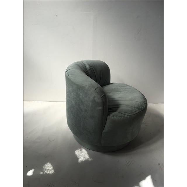 Vintage Mint Suede Swivel Chair - Image 5 of 5