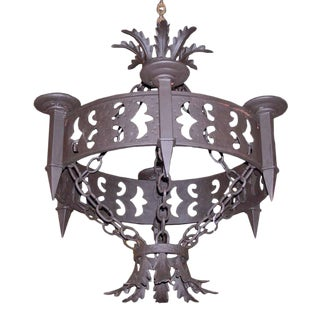 Large Replica Iron Six Arm Chandelier