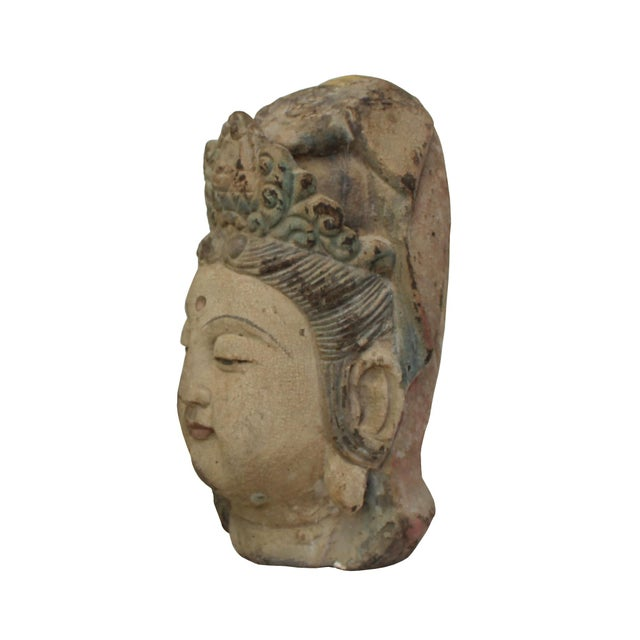 Chinese Vintage Rustic Wooden Carved Kwan Yin Bodhisattva Head Statue For Sale - Image 3 of 8
