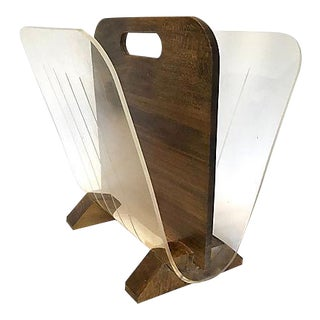 Vintage Modernist Walnut & Lucite Magazine Rack For Sale