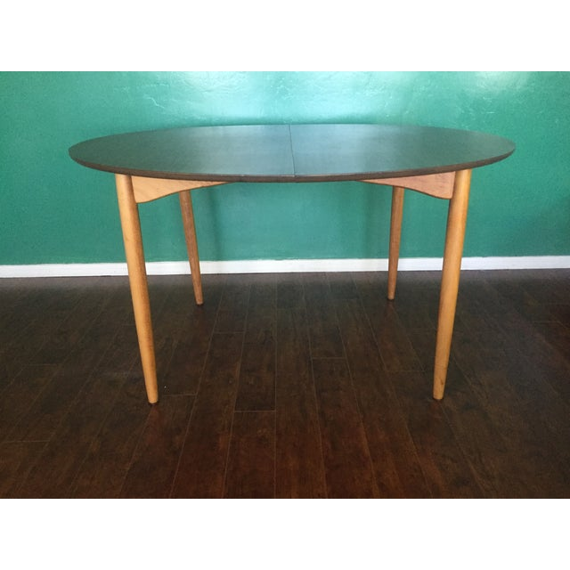 Mid Century Modern Oval Table With Leaf - Image 4 of 11