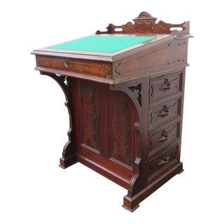 1880s Eastlake Early Victorian Small Carved Writing Secretary Desk For Sale