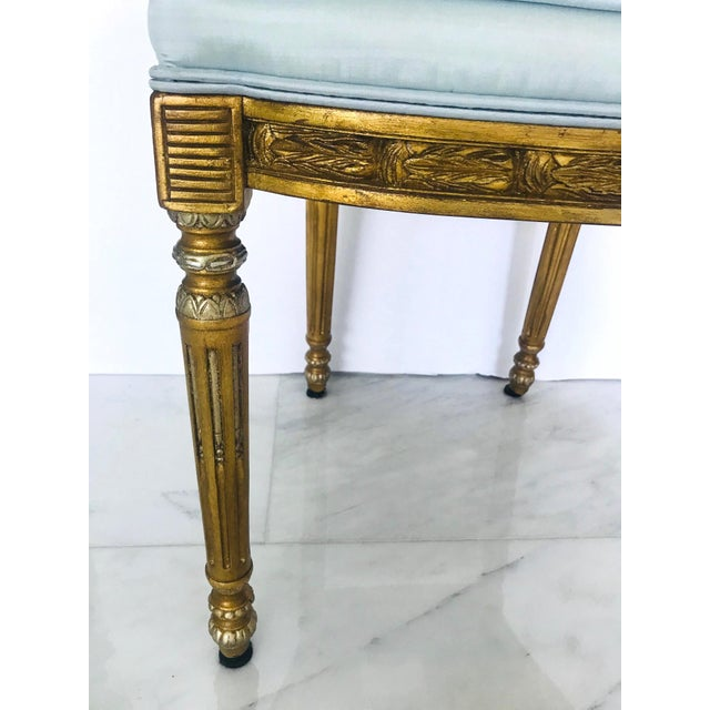 Elegant Belle Epoque Lyre Chair in Antique Gold Leaf, Italy For Sale - Image 9 of 13