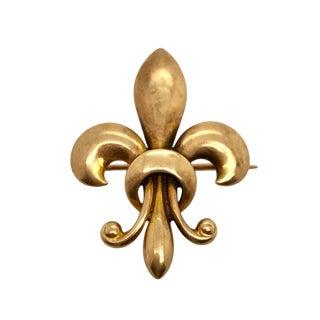 Victorian 14k Gold Fleur De Lis Watch Pin Brooch For Sale
