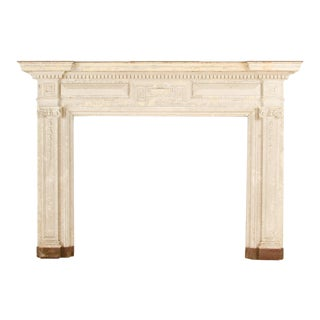 Early 20th Century Neoclassical Style Painted Fireplace Mantel With Classical Elements For Sale