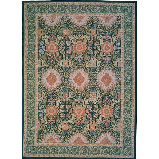 "French Pasargad Aubusson Hand Woven Wool Rug - 8'10"" X 12' 0"" For Sale - Image 3 of 3"