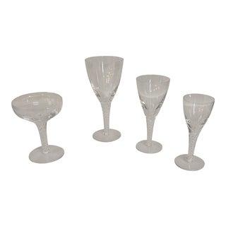 Stuart Crystal Ariel Airtwist Stem - Four Piece Set For Sale