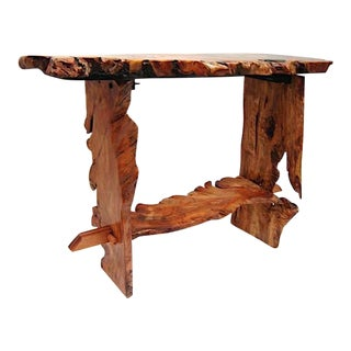 American Elm Root Live Edge Slab Sofa Table For Sale