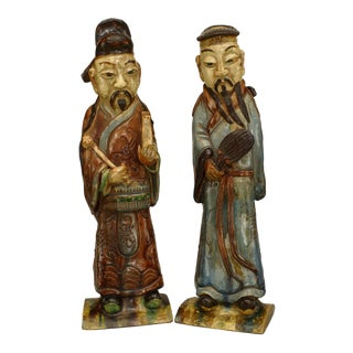 Asian Chinese Style Porcelain Male Figures Wearing Robes- A Pair For Sale