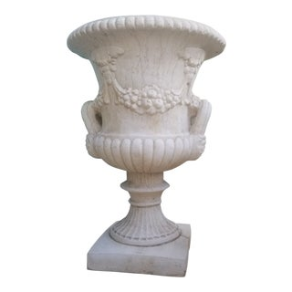 2 Della Robbia and Lion Head Handle Stone Urn Planter - 2 For Sale