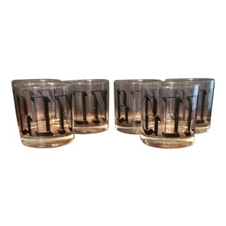 Vintage GIN typography Highball Glasses - Set of Six