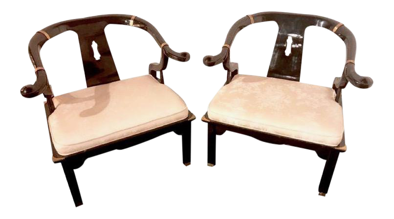 James Mont For Century Furniture Ming Horseshoe Chairs   A Pair