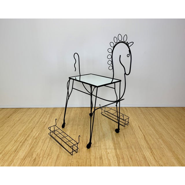 Glass 1960s Mid Century John Risley Wire Horse Form Bar Cart For Sale - Image 7 of 11