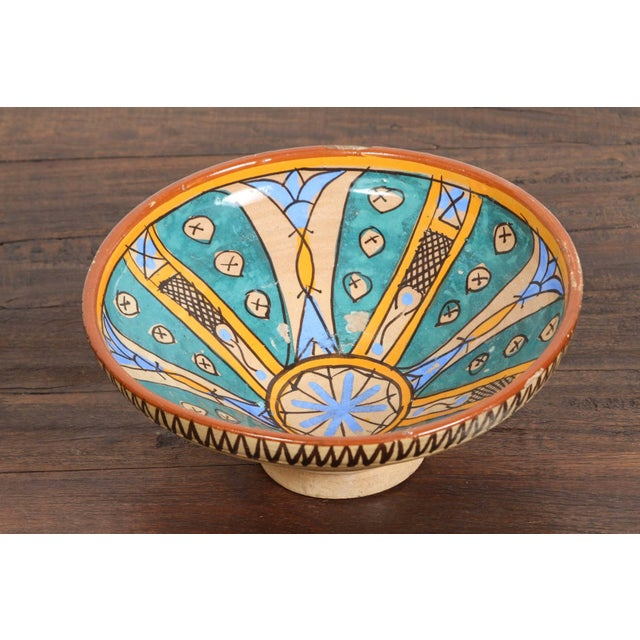 Early 20th Century Antique Moroccan Handcrafted Pottery Bowl For Sale - Image 5 of 5