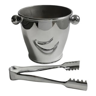 Alessi Mirror Stainless Ice Bucket With Ice Tongs For Sale