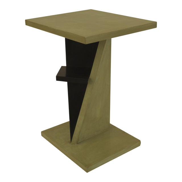 French Art Deco Ebonized And Light Green Lacquered End Table For Sale
