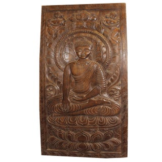 1990s Antique Meditating Buddha Wall Panel For Sale