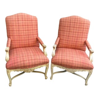 Henredon Bergere Chairs in Red Plaid Upholstery - a Pair For Sale
