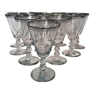 1950s Mid-Century Modern Silver Rimmed Crystal Cordials - Set of 10