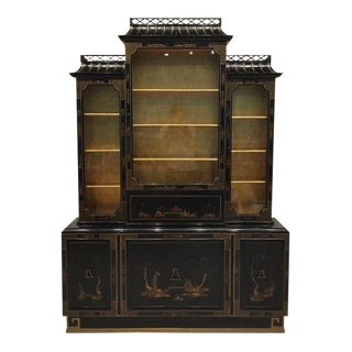 Vintage Chinoiserie Pagoda Cabinet For Sale