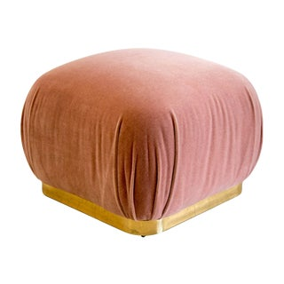 Large Brass Plinth Souffle Ottoman in Dusty Rose Mohair For Sale