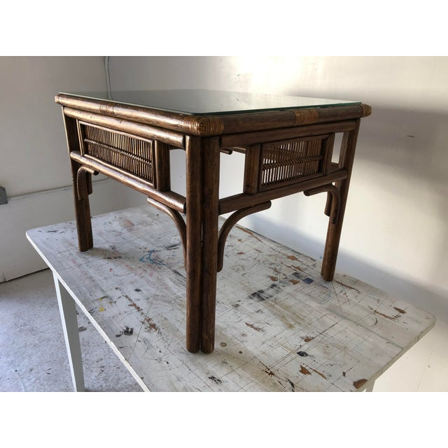 Wood Rattan Asian Style Coffee Table W/Glass 28x22x20.5h Excellent For Sale - Image 7 of 8