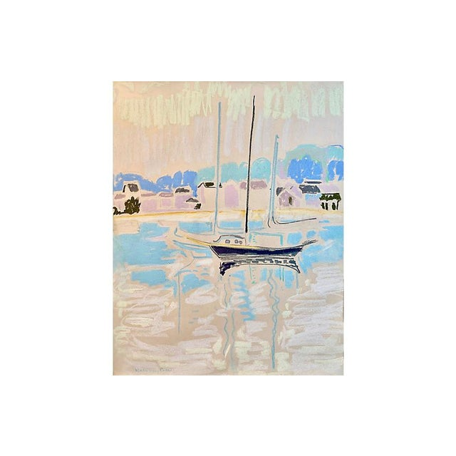 White Post-Impressionist Harbor at Sunset For Sale - Image 8 of 8