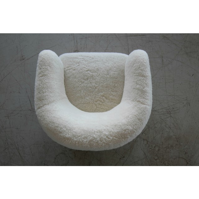 Slagelse Møbelværk Viggo Boesen Style Lounge Chair Covered in Lambswool by Slagelse Mobelvaerk For Sale - Image 4 of 9