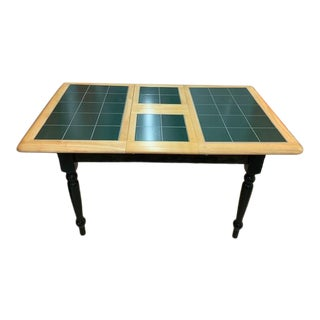 Expandable Kitchen Table in Light Wood With Hunter Green Ceramic Tile Top For Sale