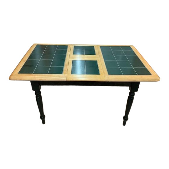 Expandable Kitchen Table In Light Wood With Hunter Green Ceramic Tile Top Chairish