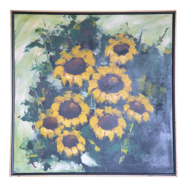 Mid-Century R. Styles Modernist Sunflowers Painting For Sale