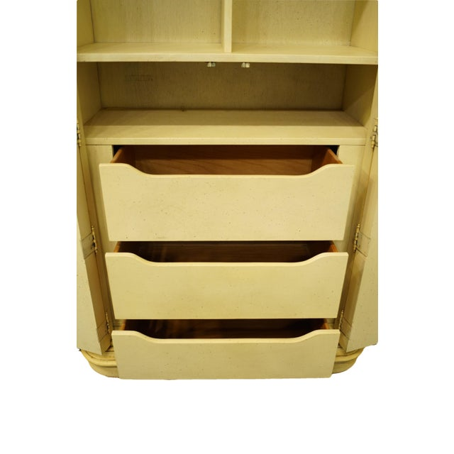 Wood 20th Century Italian Tuscan Stanley Furniture Painted Cream Clothing Armoire For Sale - Image 7 of 12