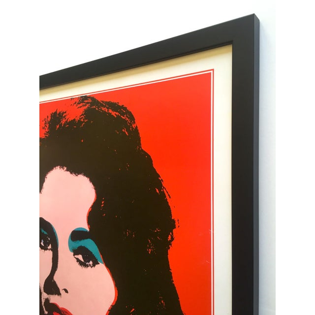 "Andy Warhol Rare Vintage 1989 Iconic Lithograph Print Framed Italian Exhibition Large Pop Art Poster "" Liz "" 1964 For Sale - Image 9 of 13"