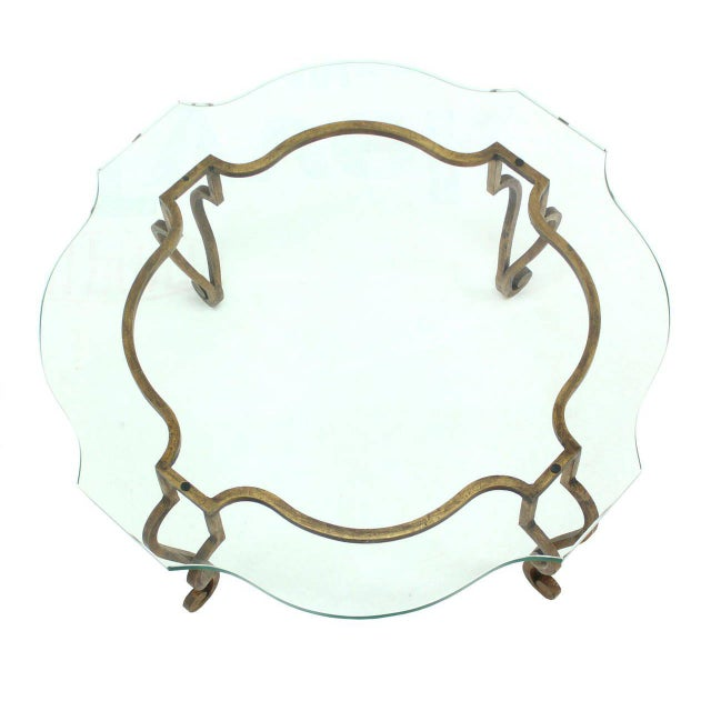 Mid-Century Modern Round Figural Wrought Iron Base Coffee Table with Thick Glass Top For Sale - Image 3 of 5