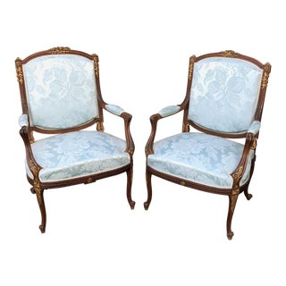 French Louis XVI Mahogany Armchairs - a Pair For Sale