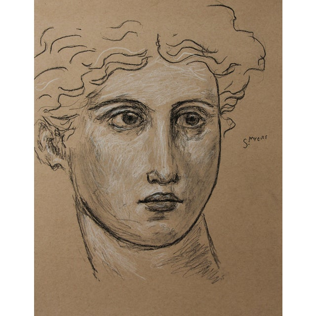 """Tan Sarah Myers Contemporary """"Head of a Woman"""" Charcoal Drawing For Sale - Image 8 of 8"""