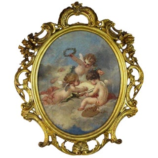 Fine 19th Century Putti Allegory of the Arts, After Francois Boucher For Sale