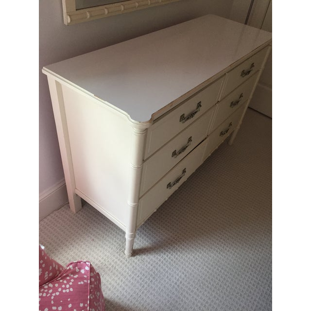 Asian Henry Link White Faux Bamboo Dresser With Mirror and Side Table / Night Stand - 3 Pc. Set For Sale - Image 3 of 8