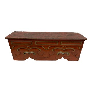 Early 20th Century Red Asian Bench For Sale